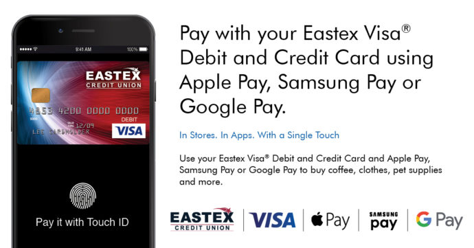 Tokenization, cell phone, eastex credit card, Visa, apple pay, google pay, samsung pay
