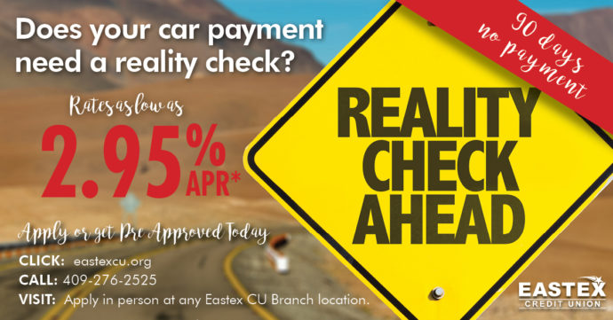 Road Sign, Reality Check Ahead, Does your car payment need a reality check? Rates as low as 2.95% APR, Apply or Get Pre-Approved today, refinance
