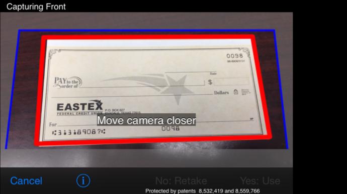 Mobile Check Deposit Check Image