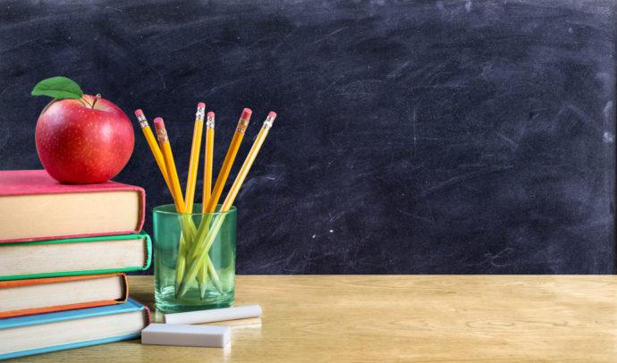 Teachers, school, chalkboard, pencils, apple, books, desk