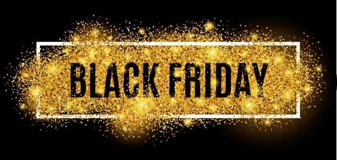 Gold glitter surrounding the words Black Friday
