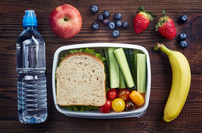 bottle water, lunch box, fruit, vegetables, sandwich
