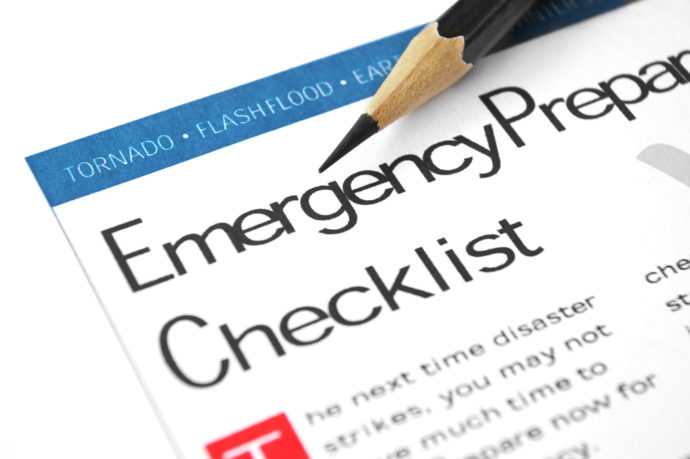 Disaster Preparedness - Emergency Checklist, Pencil, text